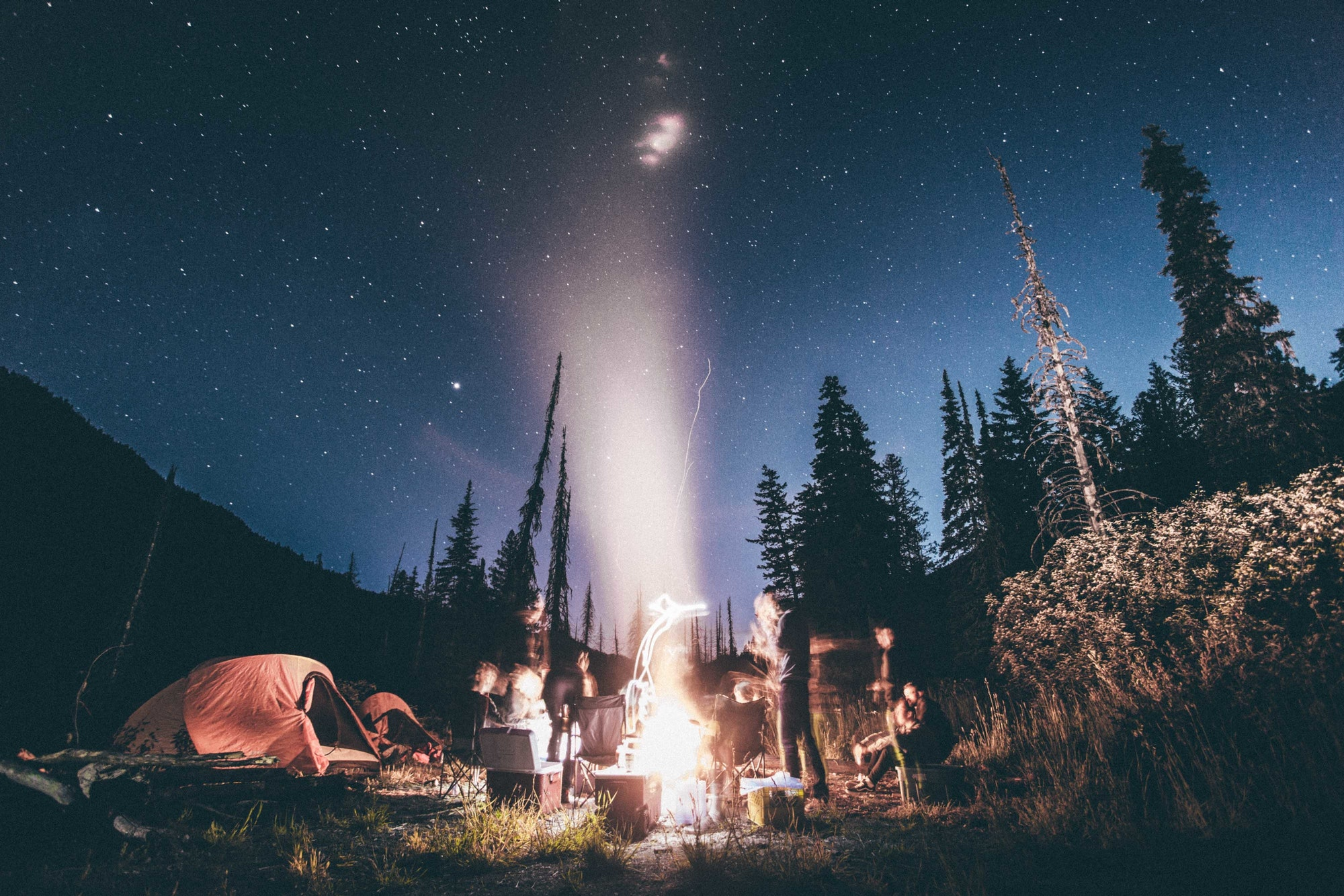 Camp fire under the stars